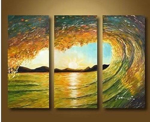 original handmade arte enorme oceano ondas surf seascape pintura a óleo( sem framed)(China (Mainland))