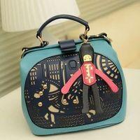 Free shipping 2014 new women PU leather handbag shoulder portable bucket bag color block messenger bags