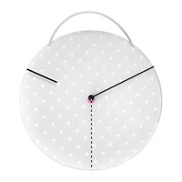 Free shipping, 1 piece plastic grey color curcular type dotted pattern wall clock