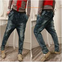 2014 Top Fashion Limited Freeshipping Regular Harem Pants Solid Plus Size Fashion Male Jeans Harem Pants Crotch Big Man Low-rise