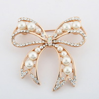 min .order is $9(can mix) Bow pearl brooch cravat exquisite gift