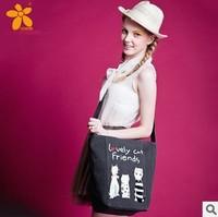 new 2014 Hot Fashion Shopping Bag 3 cute cat Girls Messenger Bag Multicolor Women's handbag Canvas bag! Free shipping!