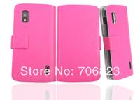 Free Ship!1pc for LG Nexus 4 E960 Extra slim Book Flip Genuine Leather case