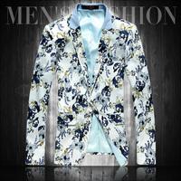 Suit Men Limited Blazer Masculino 2014 Spring Print Flower Suit Male Plus Size Blazer Slim Outerwear Casual Korean Fashion Coat