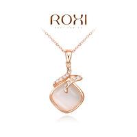 Wholesale ROXI Fashion Accessories Jewelry CZ Diamond Austria Crystal With SWA Element Opal Pendant Necklace for Women
