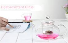 Free shipping CHINA classic handmade 600ml glass teapot piece set transparent flower tea set ETP003