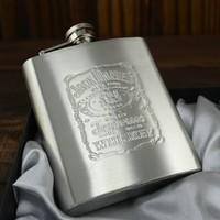 7oz Jack Daniels Hip Flask gift set Portable Pocket Stainless Steel flask Alcohol Bottle Gift Box laser graving Russian flask 1