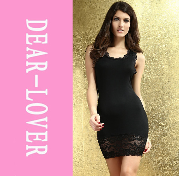Lace Tank Top Mini Dress Black LC2880 neon dresses 2013& best price(China (Mainland))