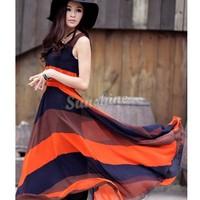 Summer Beach 1 picec Maxi Dress Women Bohemian Chiffon Long Stripe Sleeveless Casual Dress Free Shipping SV000577 b011