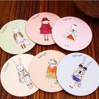 Free ship!30pc!Sweet cute cartoon makeup mirrors / rabbit mobile metal Cosmetic mirror / portable mirror