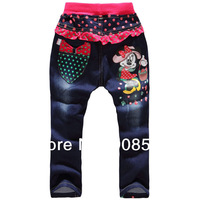 free shipping 2014 new cartoon  girl jeans Trousers 2-5years old  cartoon style children Fashion pink baby girls jeans