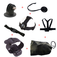 Combine sales: Tripod Mount Adapter+Helmet Strap+Camera Tethers+Velcro Belt for Remote+Head Strap+Chest Body Strap+Bag