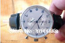 Luxo sase prata português Automatic Chronograph branco dial black leather Mens Watch unidade de pulso dos homens(China (Mainland))