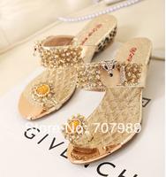 Women's Sandals 2014 Summer Beach Flip Flops Sexy Rhinestone Crystal Lady Slippers Women Shoes Summer Flats Casual Gold Silver