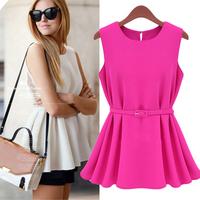 NEW With Belt! Fashion 2014 Summer Spring Casual Women Chiffon Dress Pleated Sleeveless Office Lady Short Mini Blouse T Shirt