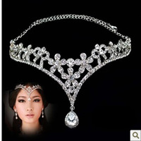 Korea Stylish Shiny Silver Plated Austrian Crystal Flower Hollow Hairbands Wedding Party Costume Jewelry