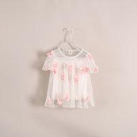 summer new cute beautiful  kids Short sleeve shirt stereo flower 3-10 years