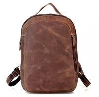 Crazy horse leather cowhide genuine leather male commercial 16 computer travel hiking backpack 3072