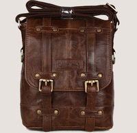 3 genuine leather wax cowhide a4 male casual fashion vintage messenger bag