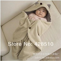 New 2014 Baby swaddle blanket lovely bear Super Soft baby Bedding set free shipping