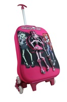 3 Wheels 3D Monster High Trolley School Bags for Girls Mochilas Kids Cartoon Wheeled Backpack Children Rolling Luggage FreeShip