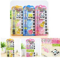 Free shipping 1set/lot Pencil*2+Eraser*3 5IN1 Stationery set piano design  Student School prize Gift for kids