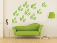 6pcs/lot 3D Shinny Acrylic Leaves Wall Sticker White Green Yellow Gold Beautiful Leaf Stickers 40x80mm American Style 4 colors
