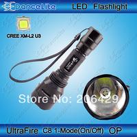1-Mode On/Off 1800Lumens UltraFire C8 CREE XM-L2 U3 LED Flashlight