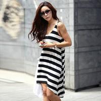 new 2014 seaside holiday beach dress Black and white stripes Bohemian long skirt