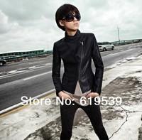 2014 New Fashion Autumn Winter Women Brand Faux Soft Leather Jackets Pu Black Blazer Zippers Long Sleeve Coat Free Shipping E04