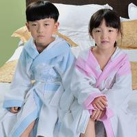 shipping free! Child 100% cotton waffle bathrobes toweled bathrobes bathrobe cap  hot sell!