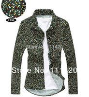 2014 New Selling Short Sleeve Floral Printed Men Shirt Slim Fit Korean Style Basic Man Shirts Tops 4Colors