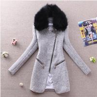 winter dress Winter clothes female 2014  slim woolen-alike fur collar overcoat oblique zipper medium-long outerwear,fashion slim