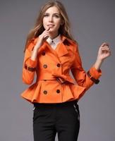 2014 Falbala/ Ruffle Burbe Trench Coats Best Quality Designer Waist Length Casual Dust Coat Outwear Upper Garments Free Shipping