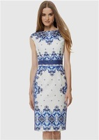 Free shipping 2014 New Arrival Lady Temperament Slim Blue and white porcelain Print Dress