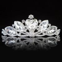 High Quality Woman Clear Austrian Crystal Water Drop On Peacock  Wedding Tiara Crown Hairwear Accessary
