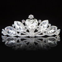 High Quality Woman Clear Austrian Crystal Water Drop On Peacock  Wedding Tiara Crown Hairwear Accessary