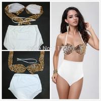 Women's Swimwear Bikini Sets Leopard Padded Push Up Swimsuit Halter Top High Waisted Bottom Bathing Suit,Size SML,Free Shipping