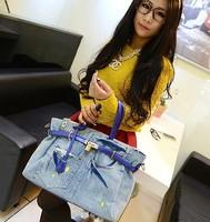 2014 women's handbag denim bag handbag candy color shoulder bag large bag print platinum package