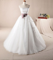 2014 New Designer Fashion Strapless Applique And Ribbon Sash Organza Wedding Dress Free Shipping