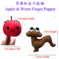 "Wholesale 12set Velvet Animals Style Finger Puppets,Stuffed Dolls,Plush Hand Puppets For Kids Talking Props ""Apple and Worm"""
