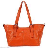 NEW ORANGE Women Top Real Cowhide Leather Handbag Tote Purse Messenger Shoulder Bag