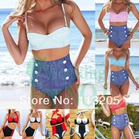 50s Retro Push-up Padded Top High Waist Pin-Up Bikini Vintage Swimsuit Cowboy Bottom Beachwear Swimwear 5 colors for Women
