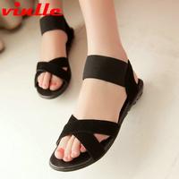 VINLLE 2014 Arrive Rome Flat Sandals women genuine leather  Sandals Women Summer Shoe sandals size  34-39