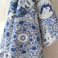 National Blue White Porcelain Printed Linen Cotton Handmade Fabric for Patchwork Tilda Sewing Fabric 100*140cm  Free shipping