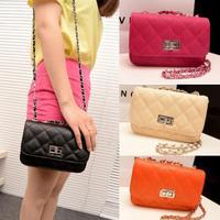 women leather handbags 2014 spring and summer women's bags plaid chain small cross bag evening bag candy color women's handbag