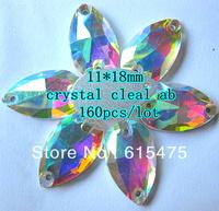 AAA Quality,11*18mm Crystal AB Sew on stone,crystal pear shape flatback rhinestones (2 holes)