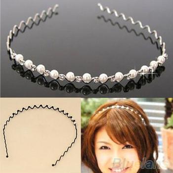 Корейский мода горный хрусталь и имитация перл волны шпилька волос группа повязка ...