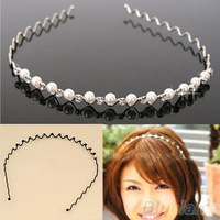 Korean Fashion Rhinestone & Imitation Pearl Wave Hairpin Hair Band Headband Accessories Hot selling 06LK