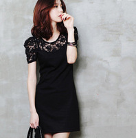 2014 new women short sleeve fashion lace dress O-neck lovely sweet dress for summer and spring party chiffon dress plus size